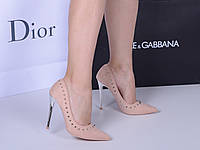Женские туфли  лодочки пудра клепки  каблук 10,5 см