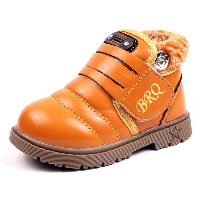 Ботинки детские демисезонные BRQ с мехом эко-кожа желтые