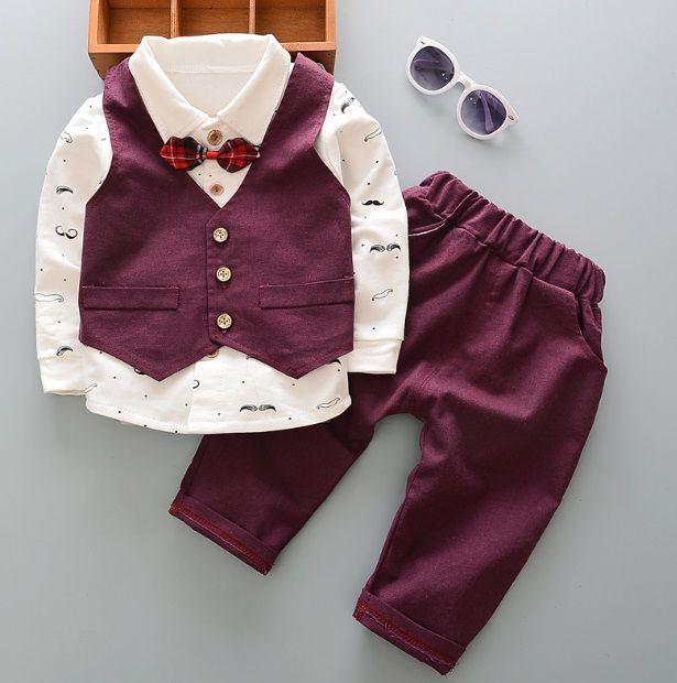 Нарядный костюм для мальчиков бордовый с бабочкой 110,120 р
