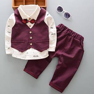 Нарядный костюм для мальчиков бордовый с бабочкой 110,120 р, фото 2