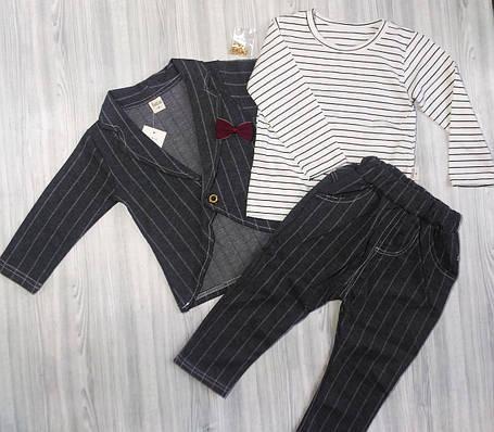 Стильный костюм для мальчиков в полоску серый, фото 2