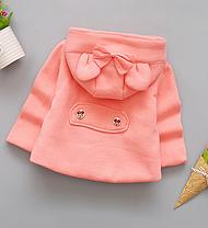Пальто для девочек на весну с бантиком персиковое, фото 2