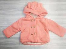 Пальто для девочек на весну с бантиком персиковое, фото 3