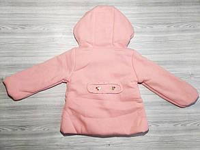 Пальто для девочек на весну с бантиком розовое, фото 2