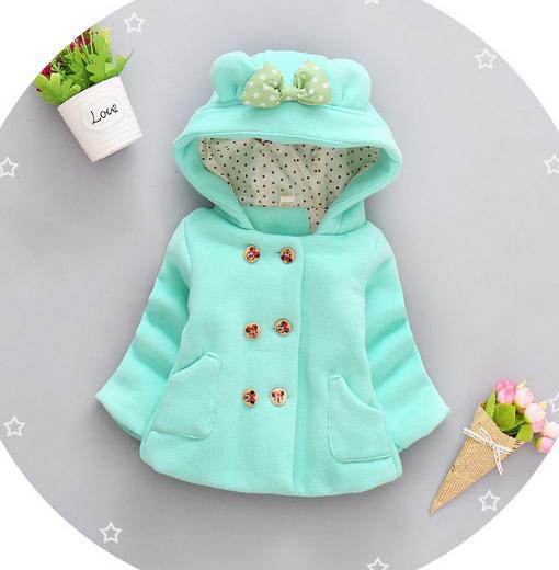 Пальто для девочек на весну с бантиком бирюзовое 1-1.5 лет