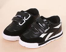 Кроссовки детские из эко-кожи на липучках черные, фото 2