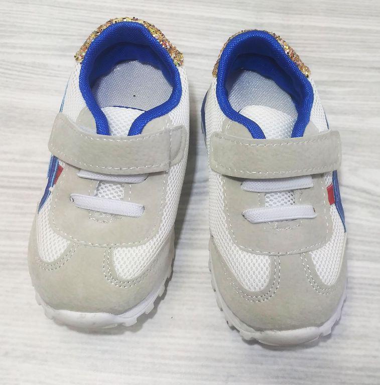 Кроссовки детские эко-замша на липучках белые с синим