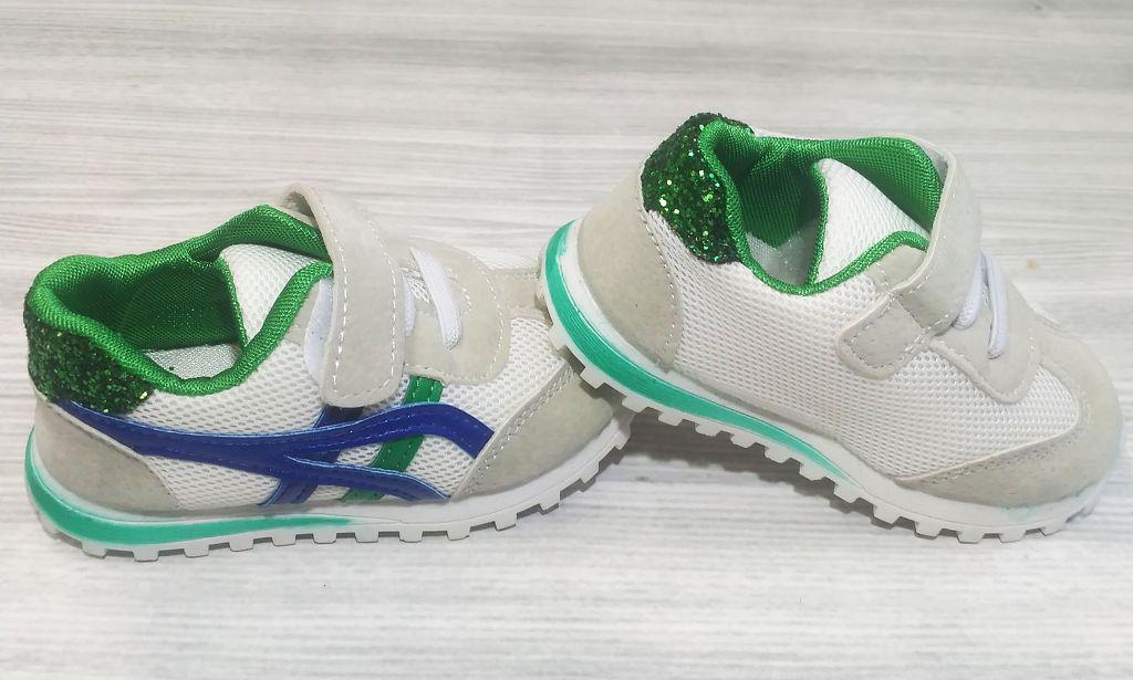 Кроссовки детские эко-замша на липучках белые с зеленым