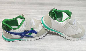 Кроссовки детские эко-замша на липучках белые с зеленым, фото 2