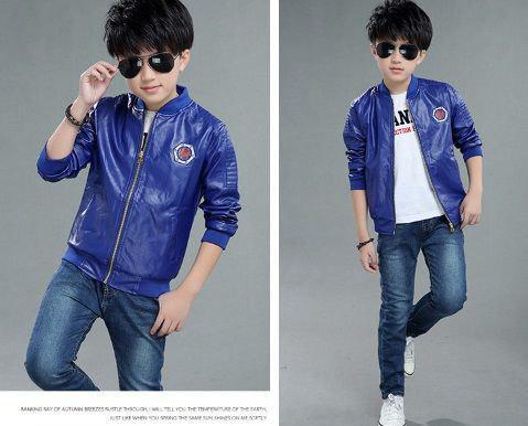 Куртка для мальчиков PU-кожа синяя демисезонная утепленная