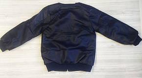 Куртка для мальчиков PU-кожа синяя демисезонная утепленная , фото 3