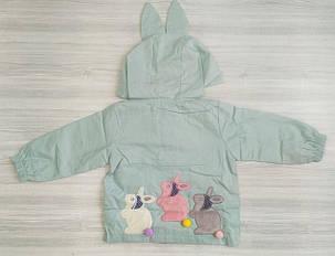 Парка для девочек с зайчиками голубая, фото 2
