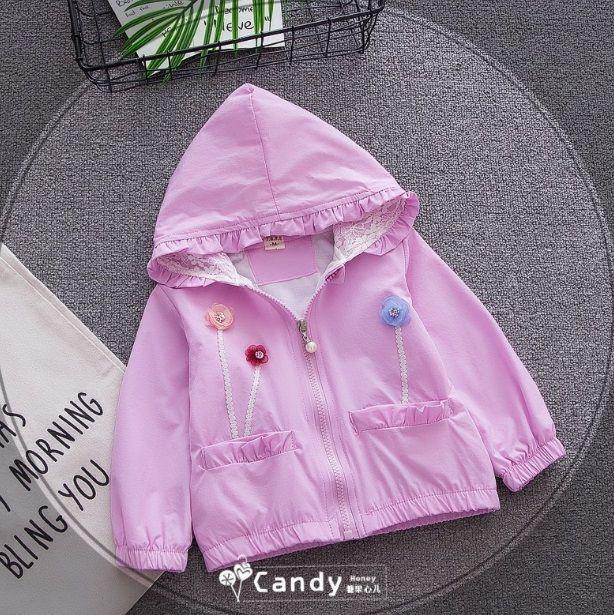 Ветровка для девочек с капюшоном фиолетовая