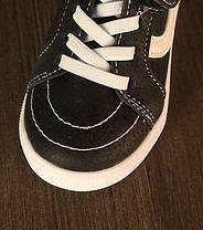 Кроссовки детские PU-замша на липучках черные, фото 2