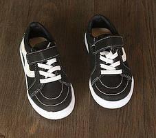 Кроссовки детские PU-замша на липучках черные, фото 3