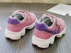 Кроссовки детские PU-замш на липучках розовые Fashion, фото 3