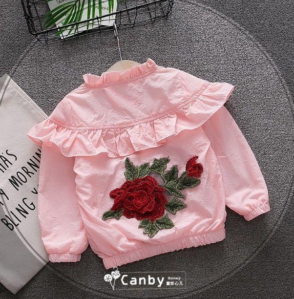 Ветровка для девочек с розой розовая