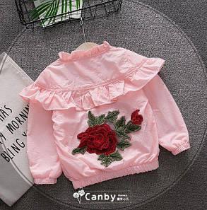 Ветровка для девочек с розой розовая, фото 2