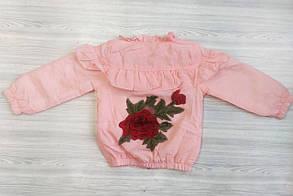 Ветровка для девочек с розой розовая, фото 3
