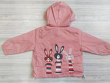 Парка для девочек розовая с зайчиками, фото 2
