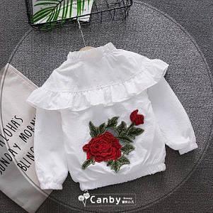 Ветровка для девочек с розой белая, фото 2