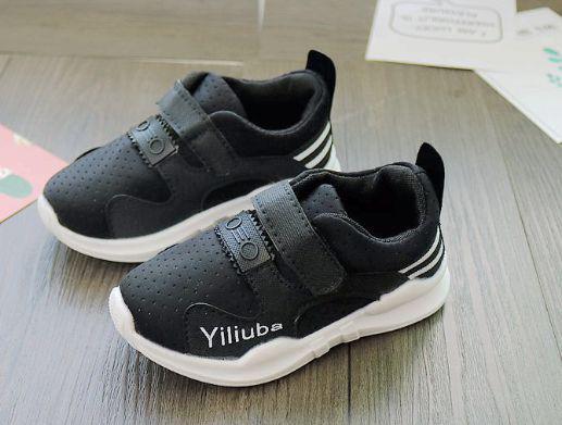 Кроссовки детские на липучках дышащие черные