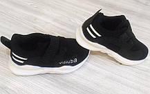 Кроссовки детские на липучках дышащие черные, фото 2