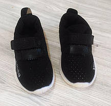 Кроссовки детские на липучках дышащие черные, фото 3