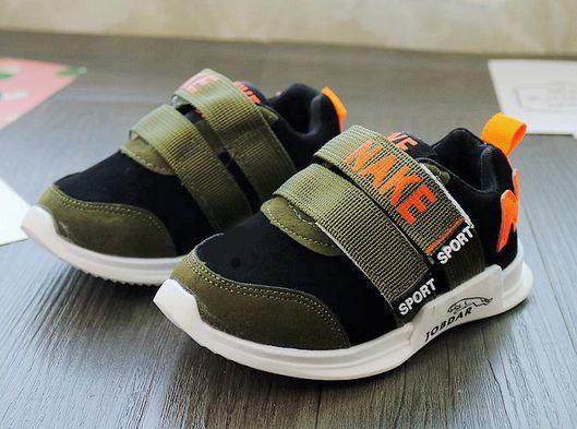 Кроссовки детские PU-замш черно-зеленые