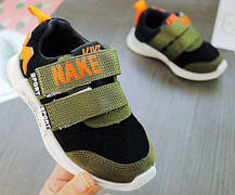 Кроссовки детские PU-замш черно-зеленые, фото 2