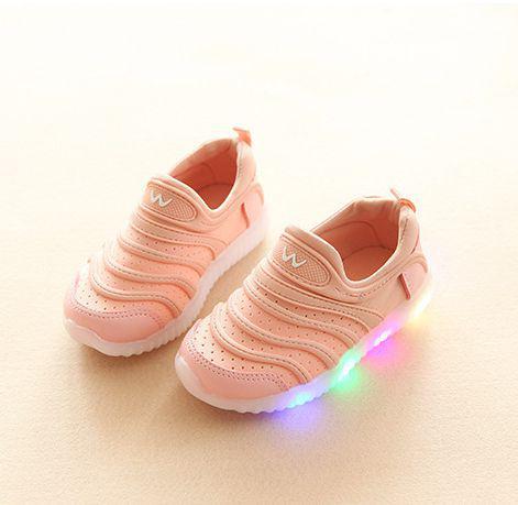 Кроссовки летние дышащие розовые LED