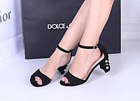 Женские  босоножки  черные каблук жемчуг высота 7,5 см, фото 1