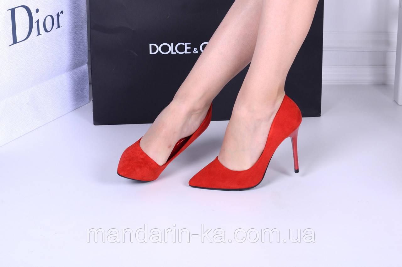 Женские туфли  лодочки  красные каблук 10 см