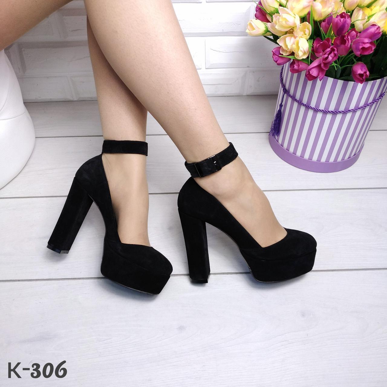 Черные замшевые туфли на платформе с ремешком на толстом каблуке ... c22b900318d
