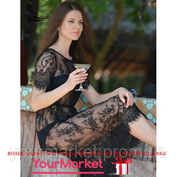 Пляжная туника пляжное кружевное черное платье