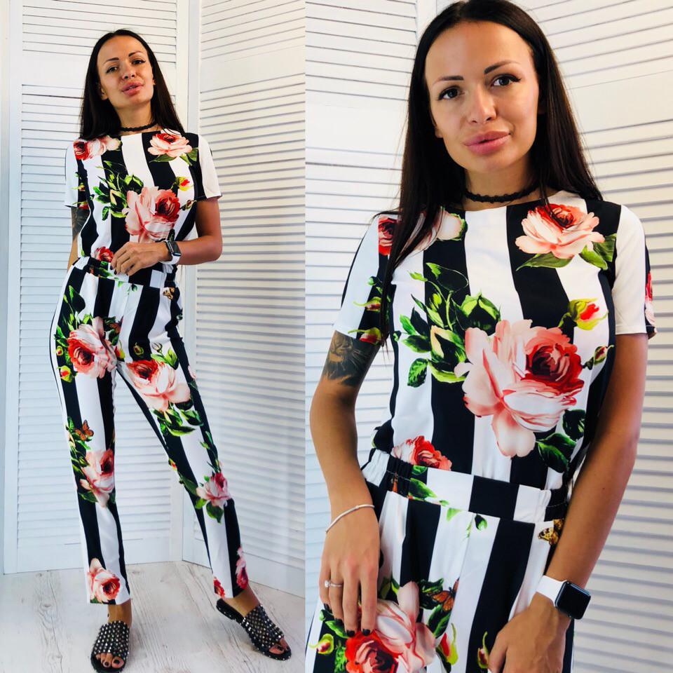 cac93cab404 Женский летний полосатый комбинезон с брюками в цветочный принт tez510679