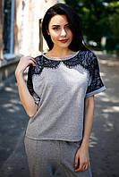 Серо-чёрная футболка CLOVER