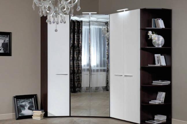 Шкаф угловой с зеркальным фасадом (18SM-05 A) и (18SM-05 В) для спальни Модерн, фото 2