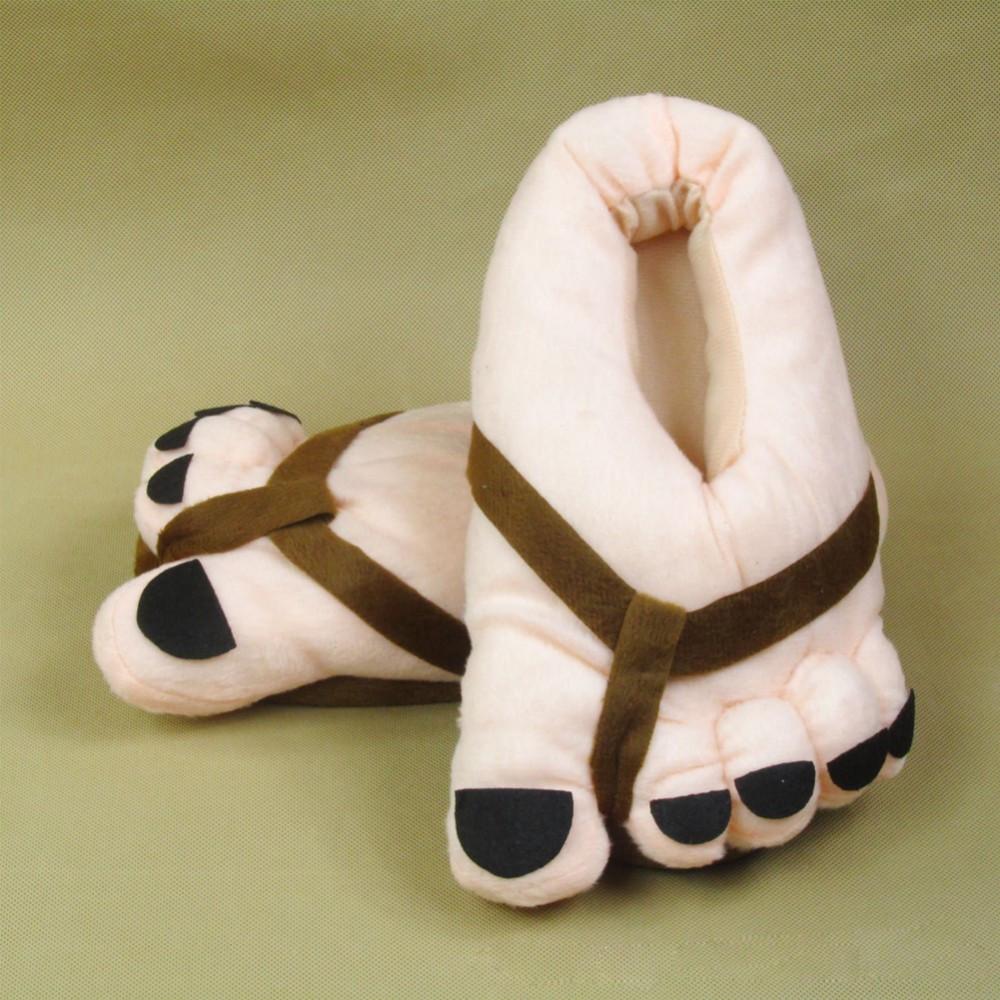 Теплые мягкие плюшевые тапочки большие ноги