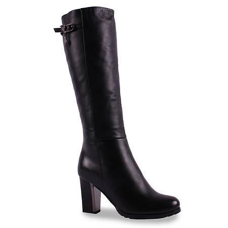 Модные женские сапоги Erisses (зимние, натуральная кожа, на каблуке, пряжка, черные, удобные)