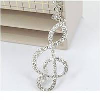 Ожерелье музыкальная нота цвет серебро