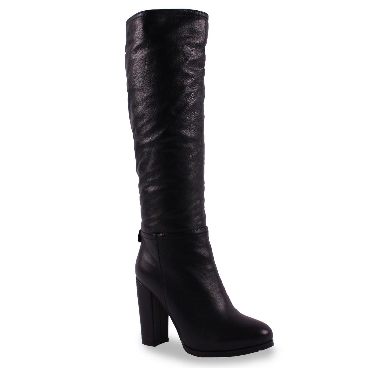 Стильные женские сапоги Lilimars (натуральная кожа, на каблуке, на замке, стильные, удобные, черные)
