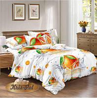 """Комплект постельного белья двуспальный, сатин 3D """"Сочный апельсин"""""""