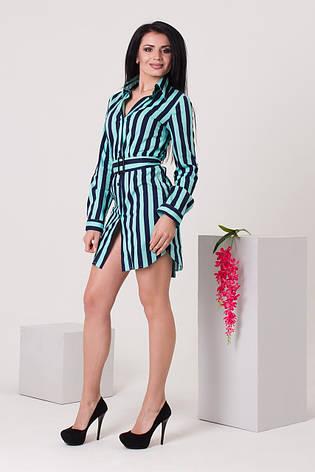 Платье-рубашка бирюзовое с синим в полоску, фото 2