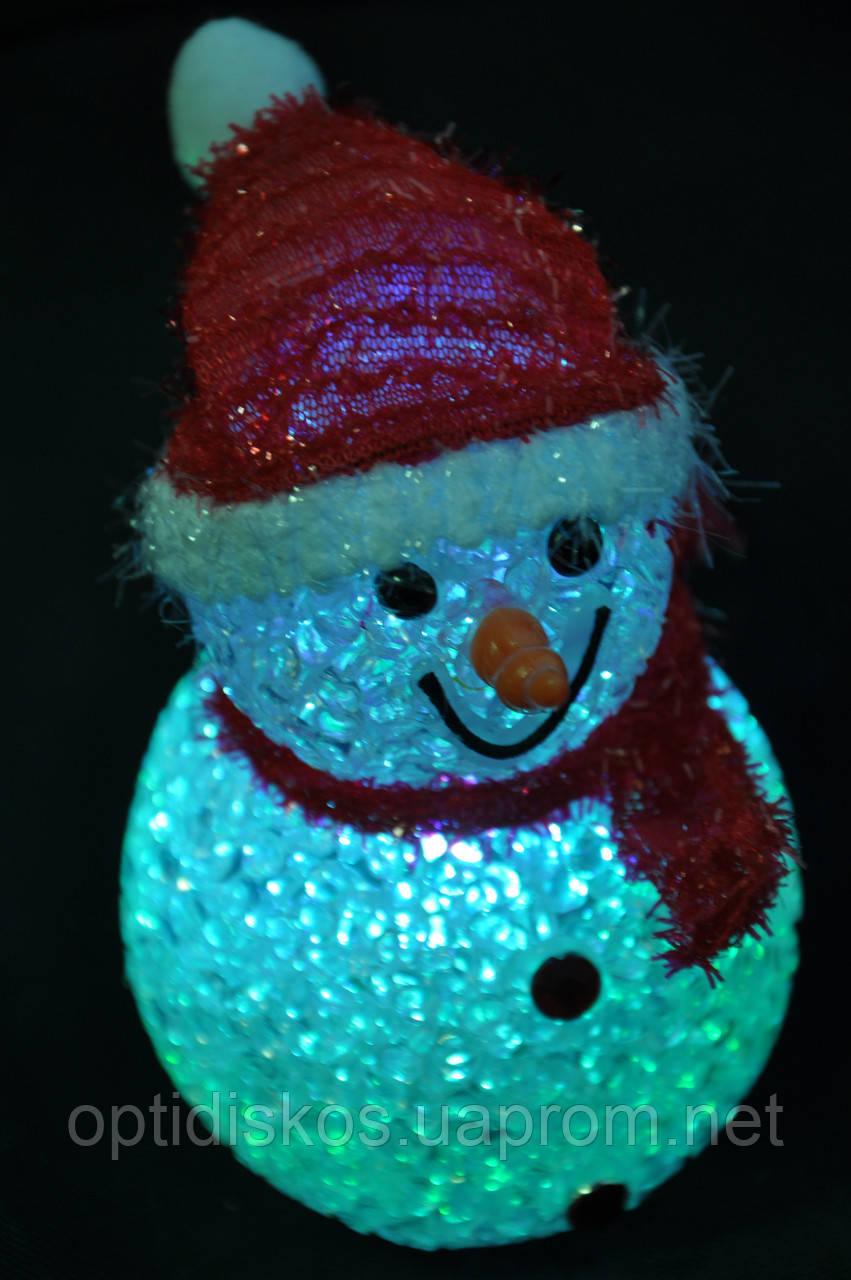 Новогодние игрушки, снеговики светящиеся, 7,5х12см
