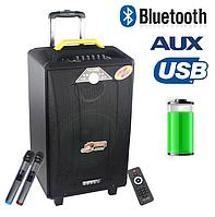 Колонка акумуляторная с беспроводными микрофонами QX-1214 / 160W (USB/Bluetooth)