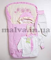 Конверт на выписку и комплект для новорожденного 4 предмета предметом, фото 1