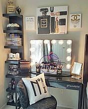 Стильное гримерное зеркало с подсветкой без рамки, для макияжа