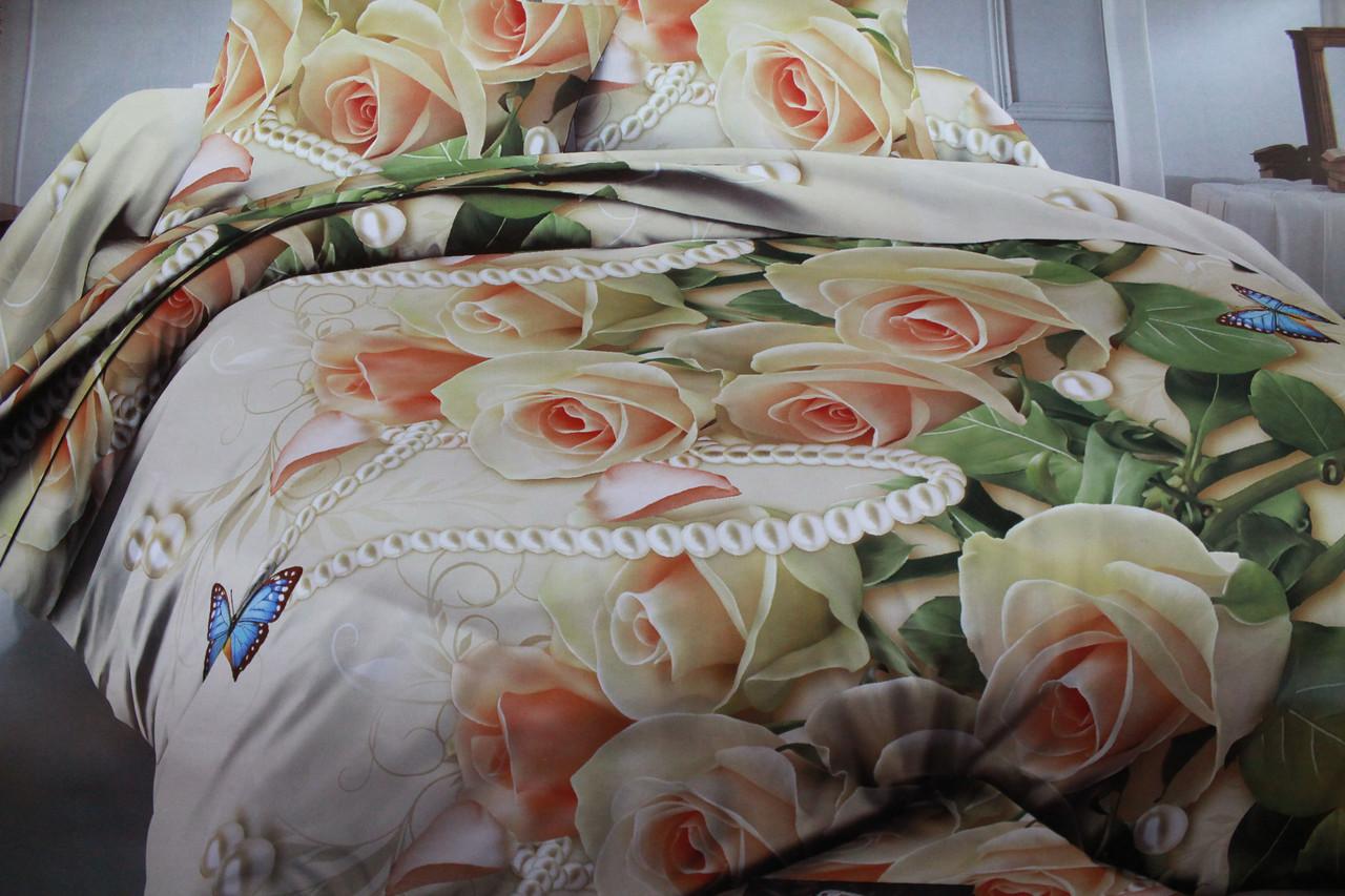 Постельный комплект  Розы из ранфорса 3D