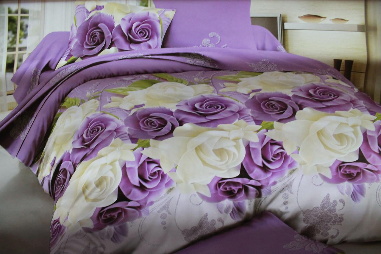 Постельный комплект   Фиолетовые розы из ранфорса 3D